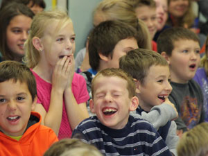 students laugh with social studies show